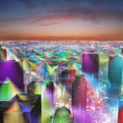 cell phone visualized as sky scrapers